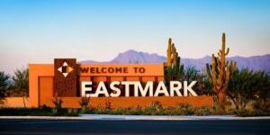 Eastmark is a 3200 acre (5 square miles) mixed use community.  Recreation is available at its 100 acre Great Park. The community is connected by major freeways with 202/101, SR-24 and I-60 3 miles away.  The community provides a 3000 sf community pool with toddler play pool, community center, Orange Monster Play Structure, splash Park and event pavilion.  When completed, there will be 15,000 residential units.  HOA fees are approximately $123/month.  Commercial space in Eastmark planned community includes a total of 20 million square feet of  non-residential property. The Gateway Employment Corridor has the most room for expansion of any of the metropolitan's areas employment corridors, with approximately 1000 acres of undeveloped commercial property, including retail, aerospace and aviation firms.  Currently nearby technology employers include Apple (1700 jobs), Boeing and Intel.  When Eastmark is completed there will also be 6000 hotel rooms.  The airport served 1.5 million passengers last year with 4 carriers. Education includes Basis Mesa Sequoia Pathfinder, ASU Polytechnic Institute and seven other colleges and technical Institutes.  Demographics: The median age is 33.8%. 33% have a Bachelor's Degree and the Median Household Income is $81,313.